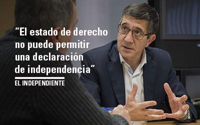 """Patxi López: """"El estado de derecho no puede permitir una declaración de independencia"""" EL INDEPENDIENTE"""